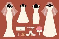 Платья и вспомогательное оборудование венчания Стоковое Изображение