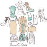 Платья моды романтичные. иллюстрация штока