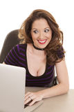 Платья нашивки женщины компьютер фиолетового excited Стоковые Фото