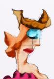 Плача эскиз женщины покрашенный чертежом Стоковая Фотография RF