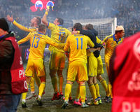 Плей-офф 2016 ЕВРО UEFA для выпускных экзаменов: Словения v Украина Стоковая Фотография RF