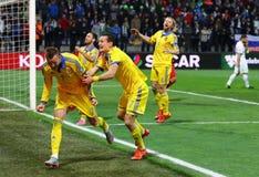 Плей-офф 2016 ЕВРО UEFA для выпускных экзаменов: Словения v Украина Стоковое фото RF