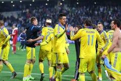 Плей-офф 2016 ЕВРО UEFA для выпускных экзаменов: Словения v Украина Стоковая Фотография