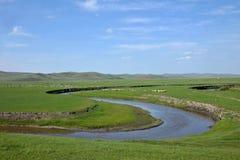 Племена степи Khan золотой орды берега реки Mergel монгольские Стоковые Фотографии RF
