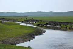 Племена степи Khan золотой орды берега реки Mergel монгольские Стоковая Фотография RF