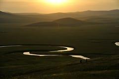 Племена степи Khan золотой орды берега реки Mergel монгольские Стоковые Фото