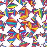 Племенная вертикальная горизонтальная красочная белая безшовная картина Стоковые Изображения RF