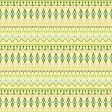Племенная этническая безшовная картина нашивки на желтой предпосылке Стоковые Изображения RF