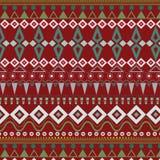 Племенная этническая безшовная картина нашивки на красной предпосылке Стоковые Изображения