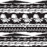 Племенная этническая безшовная картина monochrome нашивки Стоковое фото RF