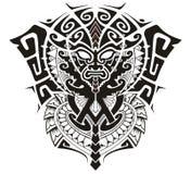 Племенной бог с символом альфы и омеги vector иллюстрация Стоковое Изображение