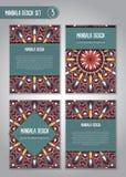 Племенной комплект дизайна мандалы декоративный сбор винограда элементов Стоковое Изображение RF
