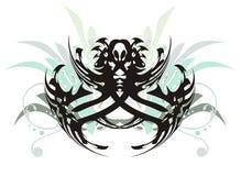 Племенной паук и флористические элементы Стоковые Фотографии RF