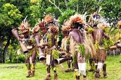 Племенной танец молодых ратников в тропическом лесе Стоковое фото RF