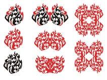 Племенные пламенеющие символы и рамки орла Стоковые Изображения RF