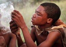 Племя бушменов, пустыня Kalahari Стоковое Изображение