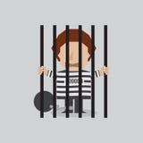Пленник в тюрьме бесплатная иллюстрация