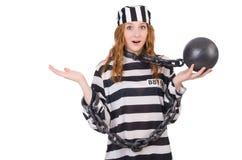 Пленник в striped форме Стоковые Изображения