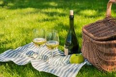 Плетеная корзина пикника, зеленое яблоко, бутылка вина и стекла на салфетке в парке Стоковые Изображения RF