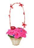 Плетеная корзина с искусственными цветками Стоковое Изображение