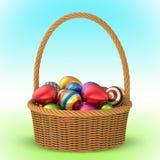 Плетеная корзина с пасхальными яйцами 3D 2 Стоковые Изображения RF