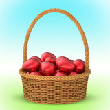 Плетеная корзина с пасхальными яйцами 3D 1 Стоковая Фотография RF