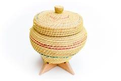 Плетеная коробка предпосылки риса Стоковое фото RF