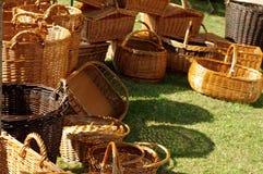 Плетеные корзины handmade Стоковые Изображения