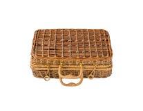 Плетеный ретро чемодан Стоковые Фото