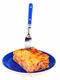 Плита лазаньи изолированная на белизне Стоковое Изображение