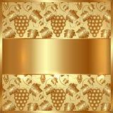 Плита вектора золотая с виноградинами и листьями иллюстрация вектора