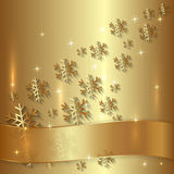 Плита вектора золотые с снежинками и золотой бесплатная иллюстрация