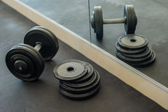 Плита веса штанг в спортзале Стоковая Фотография