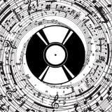 Плита винила вектора с музыкальными символами Стоковое Изображение