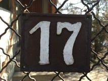 Плита винтажного металла квадрата grunge ржавая номера адреса улицы с номером Стоковая Фотография