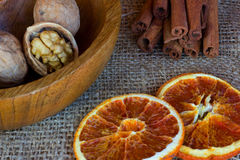 Плита гаек, 2 из candied оранжевого куска Стоковые Фото