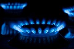 Плита газа с горя огнем Стоковое Фото
