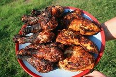 плита зажженная цыпленком Стоковые Фото