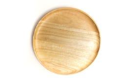 Плита или поднос взгляд сверху деревянные изолировали белую предпосылку Стоковые Фото