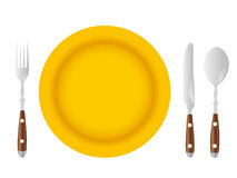Плита и столовый прибор Стоковая Фотография RF