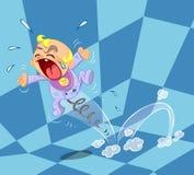 плита иллюстрации младенца плача стилизованная Стоковое Фото