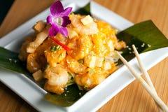 Плита креветки вкусной тэмпуры тайская Стоковые Фото