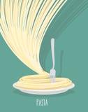 Плита макаронных изделий Блюдо спагетти также вектор иллюстрации притяжки corel Стоковое фото RF