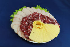 Плита мяса и сыра Стоковые Фотографии RF