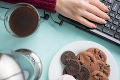 Плита печений с fudge шоколада и зефиром на backg Стоковая Фотография RF