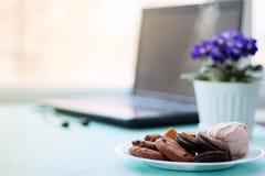 Плита печений с fudge шоколада и зефиром на backg Стоковые Изображения RF