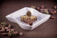 Плита пирожного засорителя с фасолями какао Стоковая Фотография RF
