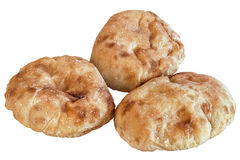 Плита при 3 хлебца хлеба пита изолированного на белой предпосылке Стоковое фото RF