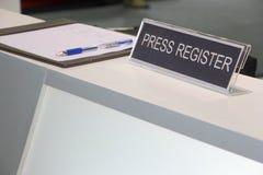 Плита регистра на счетчике приема Стоковая Фотография RF