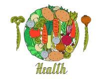 Плита свежих овощей с ` здоровья ` текста Иллюстрация вектора